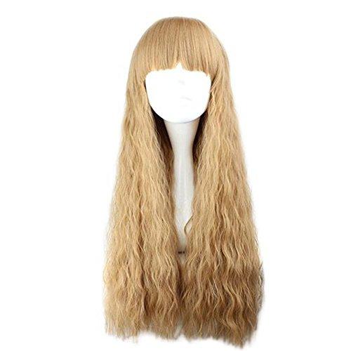 etruke Long bouclés cheveux synthétiques spirale marron clair Wave Cosplay Perruques