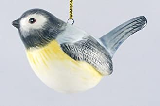 Fine Porcelain Holiday Christmas Ornament - Yellow Breasted Chickadee - Bird