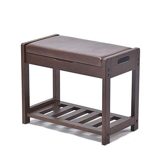 Muebles para el hogar Estante para zapatos Estantes para zapatos Banco de almacenamiento de zapatos con elevación de madera con cojín de asiento Ahorro de espacio Fácil de ensamblar (Color: Marrón