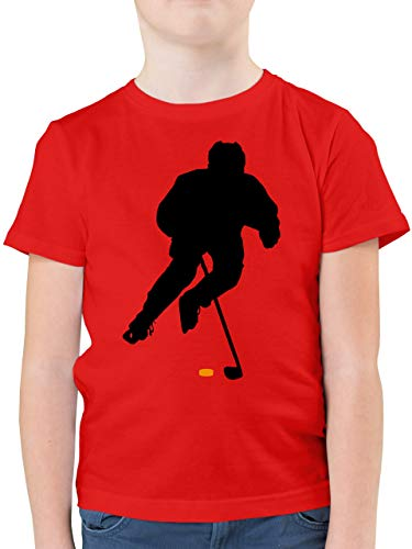Sport Kind - Eishockey Spieler - 164 (14/15 Jahre) - Rot - Tshirt Eishockey - F130K - Kinder Tshirts und T-Shirt für Jungen