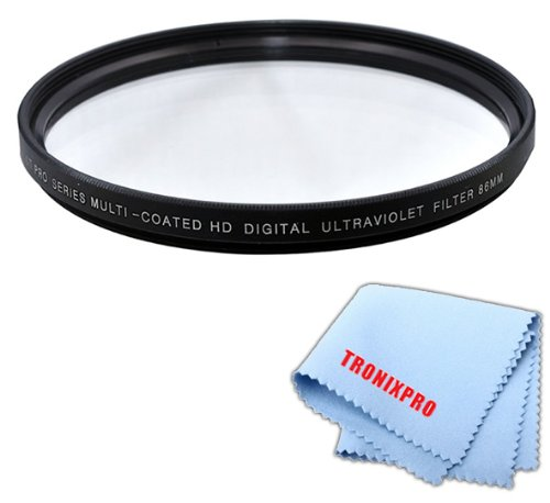 Tronixpro 86mm Pro Series High Resolution Digital Ultraviolet UV Protection Filter for For Sigma 150-500mm f/5-6.3 DG OS HSM APO Autofocus Lens, Sigma 180mm f/2.8 APO Macro EX DG OS HSM Lens, Tamron 200-500mm + Microfiber Cloth