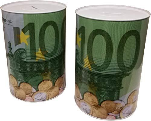 GW Handels UG 2er Set XXL Spardose 100 Euro Blechdose Metall Spardose 22 cm x 15 cm Sparschwein Geburtstag