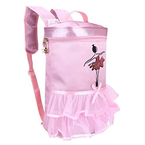 Zerodis Balletttanz Tasche Tutu Rosa Kleid Tanz Satin Rucksack Ballerina Mädchen Pailletten Umhängetasche mit Griff für Kleinkind Mädchen(Pink)