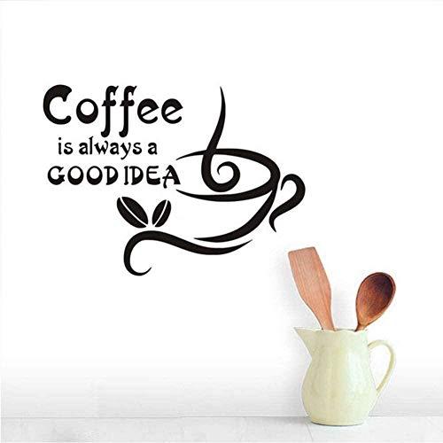 El café siempre es una buena idea Cita de la pared pegatinas de la pared Copa de café Granos de café DIY Vinilo Muro de las calcomanías Sala de estar Cocina Decoración del hogar44 * 32 cm