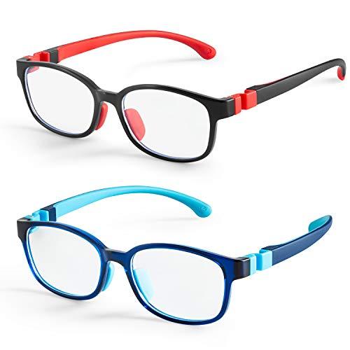 NineUp Blue Light Glasses for Boys Girls 2 Pack, Gaming/Computer/Phone/TV Blue Light Blocking Glasses for Kids Age 3-12, Anti Glare & Eyestrain & UV Protection (Black+Transparent Blue)