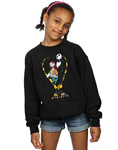 Disney Girls Nightmare Before Christmas Jack and Sally Love Sweatshirt 5-6 Years Black