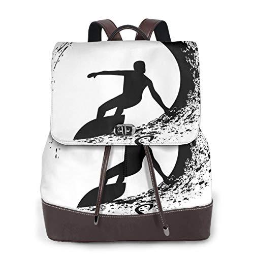 SGSKJ Mochila de Cuero Mujer Bolso Board Surf Surfers Estudiante Casual Bolsa La Universidad Bolsa de Viaje de Cuero Mochila Mujer