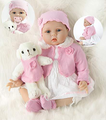 HRYEOY Muñeca Realista Renacentista Muñeca Reborn Niña 22 Pulgadas 55 cm Realista Bebé Reborn Doll Silicona Suave Muñeca de Vinilo Bebé Ojos Azules
