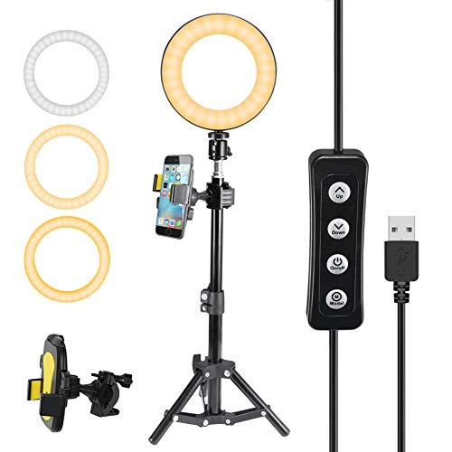 """Luce ad Anello LED, 6\"""" Ring Light con Treppiedi, Luce Anello Dimmerabile per Selfie, Esterno 3000K-6000K Dimmerabile con Stativo di Luce, Lampada Anulare Regolabile per Trucco, Selfie e Video"""