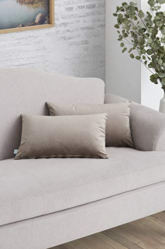 Easycosy - Pack Funda de Cojín Decorativo Luxury para Sofá - 30x50 - Tejido Terciopelo - Ideal para Decorar su sofá - Color Beige.