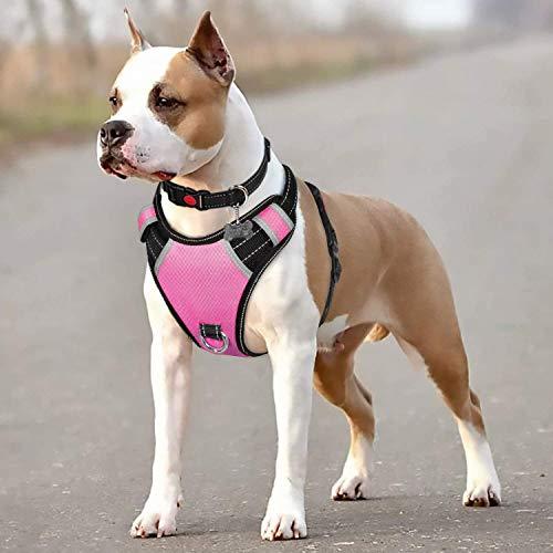 BABYLTRL Big Dog Harness No Pull Adjustable Pet Reflective Oxford Soft Vest for Large Dogs Easy Control Harness (M, Rose-Red)
