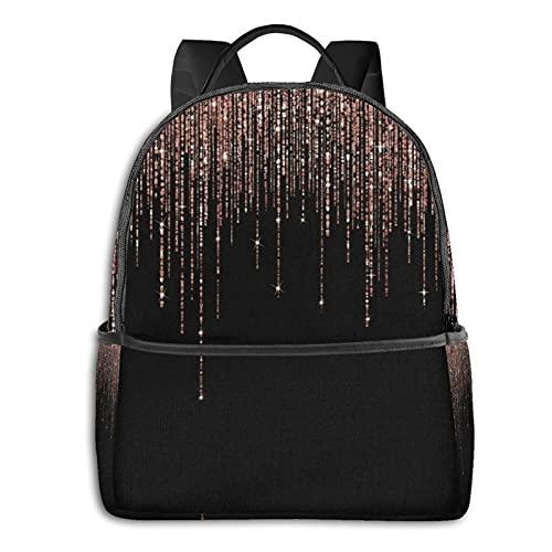 Rucksäcke Schultertasche Multifunktional Reise Daypack Laptop Student Rucksack Luxus Schwarz Rose Gold Glitzer Fransen Langlebig Mode Süße Taschen für Erwachsene und Jugendliche