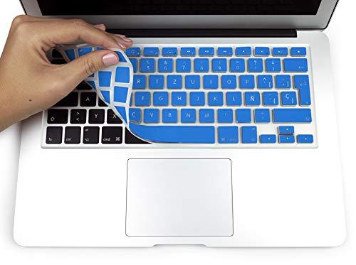 "MyGadget Funda Teclado QWERTY [Español] para Apple MacBook Air 13"" & Pro Retina 13/15"" - Skin Protector Keyboard Cover de Silicona TPU - Azul"