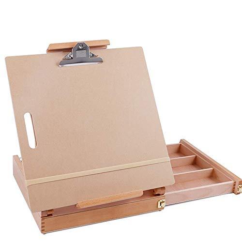 Caballete de Escritorio Caballete de Madera Maciza Plegable Exquisita Caja de Pintura Beech Art Sketching Caballete dedicado Caballete de Escritorio Caballete de Dibujo (Color: Wood, Size: On