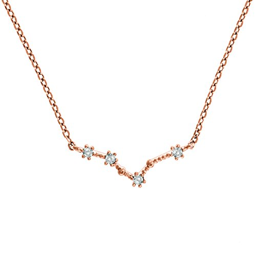 PAVOI 14K Rose Gold Plated Astrology Constellation Horoscope Zodiac Necklace 16-18' - Pisces