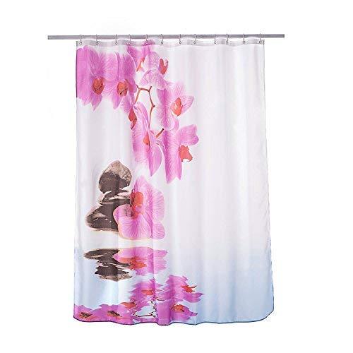 Alicemall Duschvorhang 180x180 Textil Weiß Rosa Orchidee Schimmelresistenter Wasserabweisender Stoff-Duschvorhang Shower Curtain 180x180cm - Phalaenopsis Amabilis