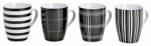 Modernes Porzellan Kaffeetassen 4er Set  I 10cm hoch - Ø 8cm - 300ml I Große Kaffee Tasse in schwarz / weiß gestreift & kariert