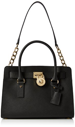 """Genuine saffiano leather Double handles with 5"""" drop; shoulder strap with 11"""" drop Magnetic snap closure; gold tone hardware Interior features 1 zip pocket, 2 slip pockets Approximate dimensions: 12.75""""(L) x 9""""(H) x 5""""(D)"""