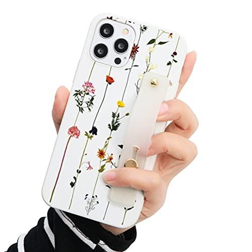 Eouine - Capa de pulso para Samsung Galaxy A50 / A50s / A30s, 6,5 polegadas, capa de telefone de silicone branco macio com padrão e pulseira de pulso, capa de apoio fina à prova de choque antiarranhões
