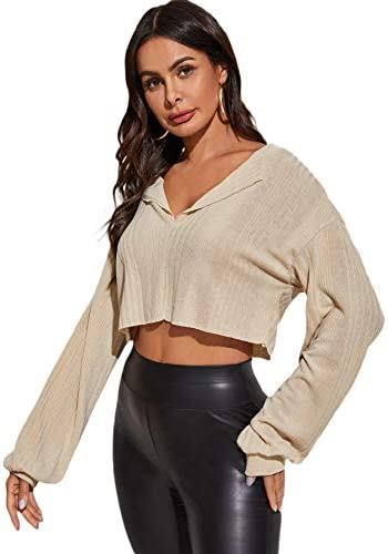 Romwe Women s Casual Rib Knit Long Sleeve V Neck Raw Hem Crop Tops Shirts Apricot Medium product image