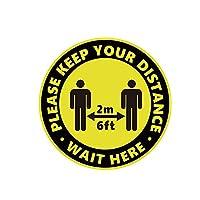 Klcclmki 10枚セット 安全標識 ソーシャルディスタンス ステッカー 社会的 距離 表示シール 距離を維持 ステッカー 行列 間隔 床用シール レジ待ち スーパーマーケットで使用 粘着ステッカー 防水耐熱 フロア 屋内用(H03)