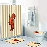 Vlejoy Animal Impreso Cortina De Baño Set Baño Antideslizante Alfombrilla Cubierta del Inodoro Alfombra Lavable 4 Piezas