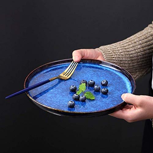 LIXUE Steak Pasta Plate Fruits Salade plat Plaque de petit déjeuner Pratique Rond Dîner Assiette Creative Plaque en céramique peinte à la main Four Micro-ondes Safe Bleu (Size : 10 inches)