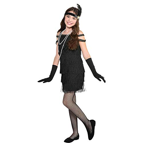 Party City Roaring 20s Flapper Girl Halloween Costume, Gatsby Party, Black, X-Large (14-16), Includes Dress and Headband