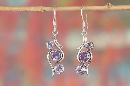 Amethyst Earring, 925 Silver Earring, Handmade Earring, Triple Stone Earring, Purple Earring, Fine Earring, Earring for Girls, Amethyst Gemstone,
