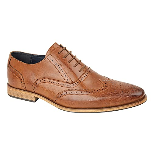 Mens Leather Lined Smart Wedding Lace Up Brogues Formal Dress Brown Tan...