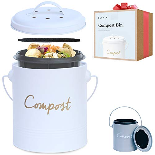 Compost BIN - Farmhouse Kitchen Compost Bin for Kitchen Counter Bonus Inner Compost Bucket for Kitchen, 2 Fruit Fly Trap Filters. Composter for Zero Waste. Countertop Compost Bin, Compost Pail