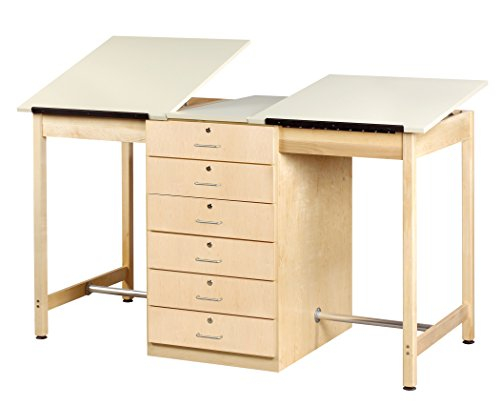 """Big Sale Diversified Woodcrafts DT-80A UV Finish Solid Maple Wood Double Drafting Table with 6 Drawer, Plastic Laminate Top, 70"""" Width x 39-3/4"""" Height x 32-1/2"""" Depth"""