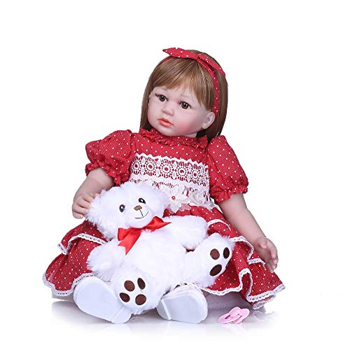 24Inch Reborn Toddler Doll Looks Real Baby Dolls Soft Silicone Toddler Dolls Long Hair wiht Bear Toy for Girls Gift