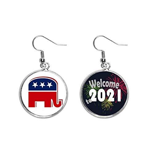 América, diseño de elefante republicano, para fiestas, pendientes