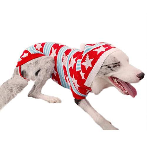 feiling gebreide pullover voor grote honden strepen pulli gilet Middelgrote honden sweater herfst winter verdikte hondenkostuum hondenmantel Husky Samoyed capuchontrui, 26#, rood A