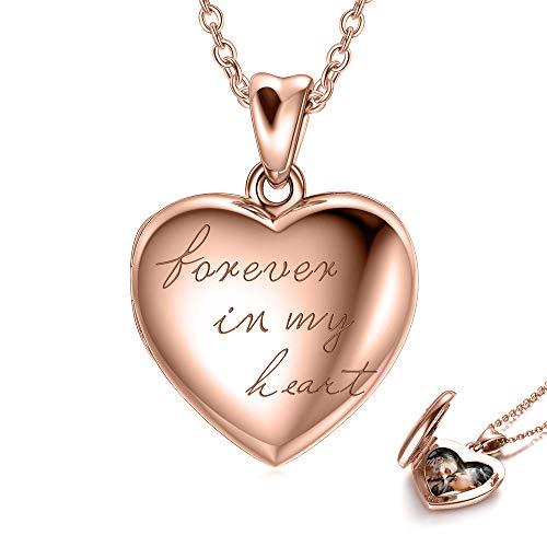 LONAGO 925 Sterling Silber Herz Medaillon Halskette die Fotos Personalisierte Bild Medaillon Halskette Schmuck Hält (Rose für immer in meinem Herz Medaillon)