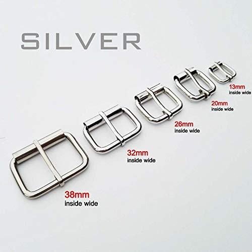 FEIYI Correa de metal resistente para zapatos de mano y correa para zapatos, hebilla de rodillo ajustable, anillo rectangular de piel, grosor (color: plata, tamaño: interior de 32 mm)