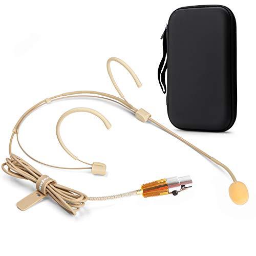 Sujeetec Auriculares Micrófono - Discreto Doble sobre Oreja Headworn Micrófono Ideal para AKG Samson Transmisor Inalámbrico por Conferencias, Teatro, Podcasts - Enchufe Mini XLR TA3F de 3 Pines