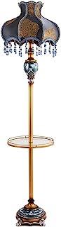 Lampe sur Pied Lampadaires Lampe de plancher de style campagne avec plateau de plateau Table d'extrémité traditionnelle ha...