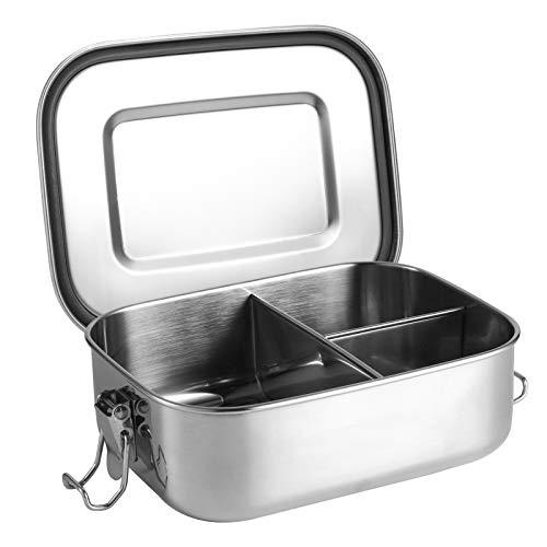 metagio Edelstahl Brotdose, Lunchbox Edelstahl Auslaufsicher mit 3 Fächern, BPA frei, Brotbox zum Wandern/Reisen/Schule Kinder und Erwachsene, 1000ml