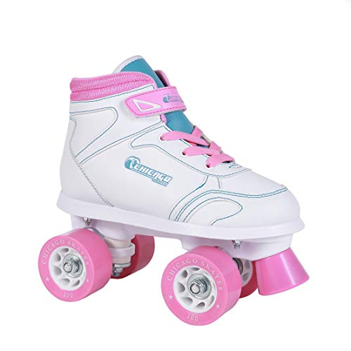 Chicago Girls Sidewalk Roller Skate - White Youth Quad Skates - Size 5