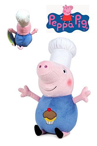 Peppa Pig - Peluche George Disfrazado de Cocinero 10'/26cm - Calidad Super Soft