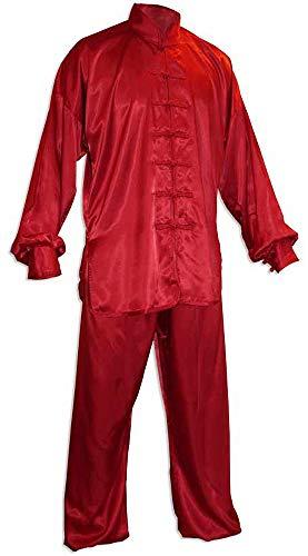 DOUBLE Y Tenue de Tai Chi Chuan Satin Rouge Taille 170 cm