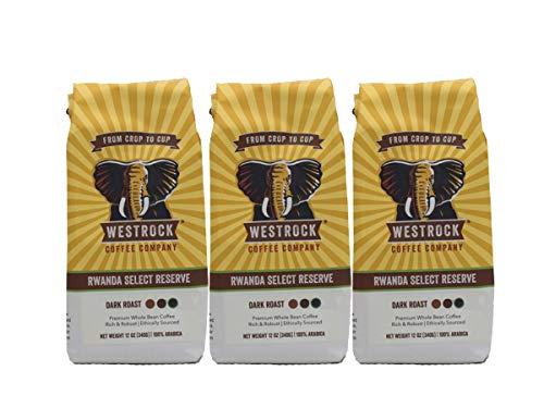 Westrock Coffee Company Rwanda Select Reserve, Dark Roast, 12-ounce Whole Bean, 3-pack
