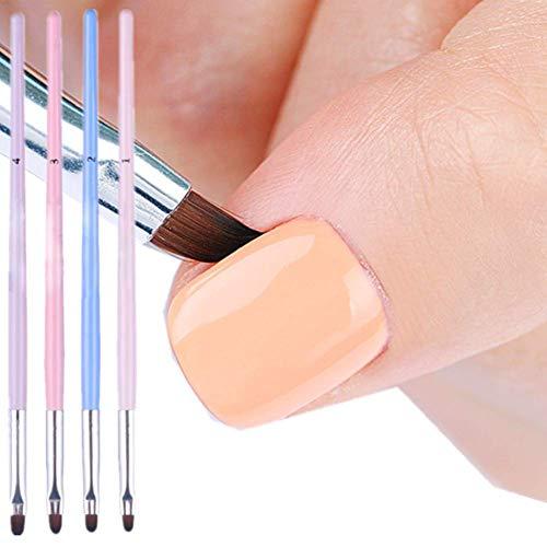 BornBeauty 4pcs Cuticle Nail Cleaning Brush Pink Blue UV Gel Nail Art Brush Round Handle Powder Dust Clean Pen Manicure Nail Art Tool