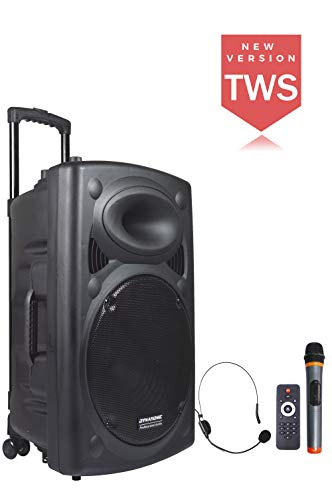 DYNASONIC - Dynapro 15 - Altavoz Inalámbrico Sistema Audio Profesional Megafonia Portátil   Lector USB Bluetooth Radio FM y Micrófonos, Color Negro (DYNAPRO 15)