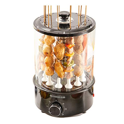 Unbekannt Automatischer Rotierender Elektrischer BBQ-Grill mit 12 Gabeln, Vertikaler Rauchloser Grill-Bräter 1100W Timer-Funktions-Aufsteckspindeln-Grill für Haus