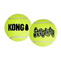 Fetch toy for healthy, active play Non-abrasive KONG Tennis material, softer on teeth Squeaker entices play