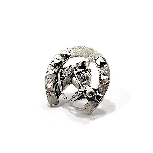 Pin plata Ley 925m unisex herradura suerte caballo mate detalles tallados brillo