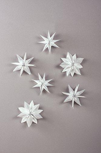 Rayher 67274606 Set Mini-Zaubersterne XXS, silber, Material für 6 glitzernde kleine Papiersterne 12 cm ø, mit Tüten und Faltblättern Sterne falten, Sterne basteln, Weihnachtssterne
